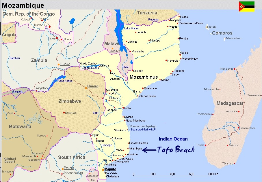 Map of Mozambique Tofo